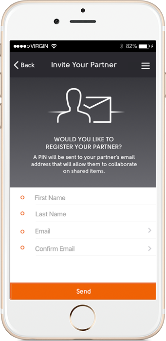 invite screen for divorce app Amicable