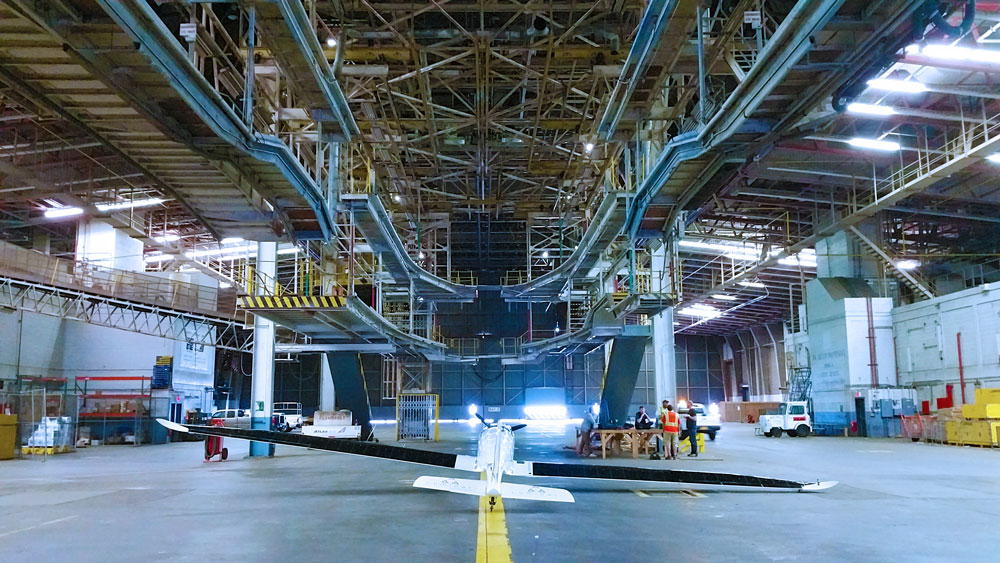 solar powered airplane in hanger