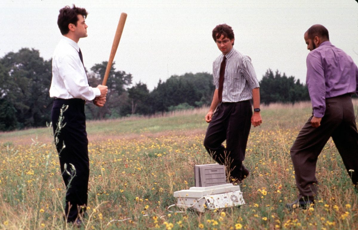 Office Space characters getting ready to beat the crap out of their printer