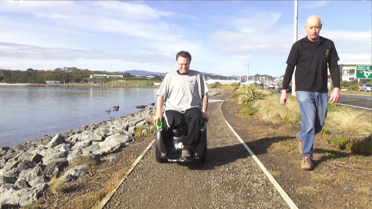 Kevin Halsall, founder of Ogo Technology, with his hands-free electric wheelchair alternative