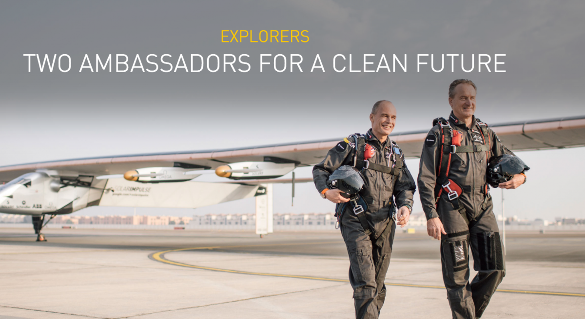 solar airplane with pilots Piccard Bertrand and Andre Borchberg