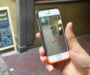 Pokémon Go being played at a small business