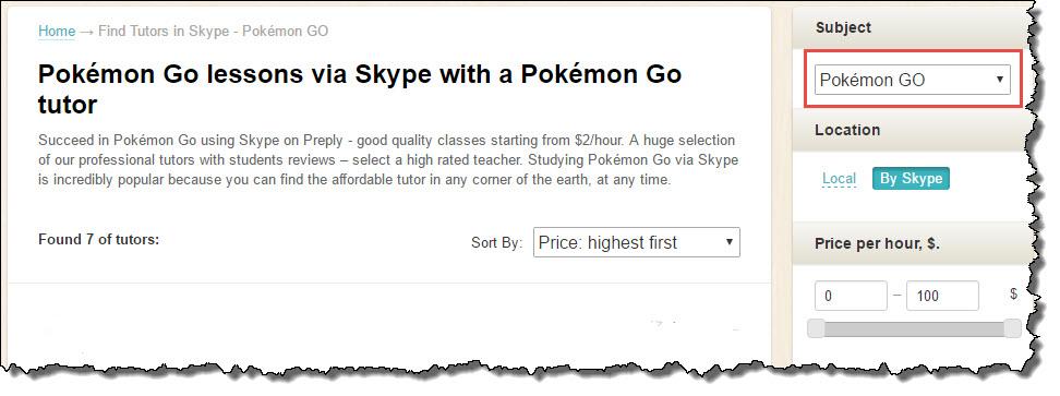 add for Pokemon Go tutors on Preply