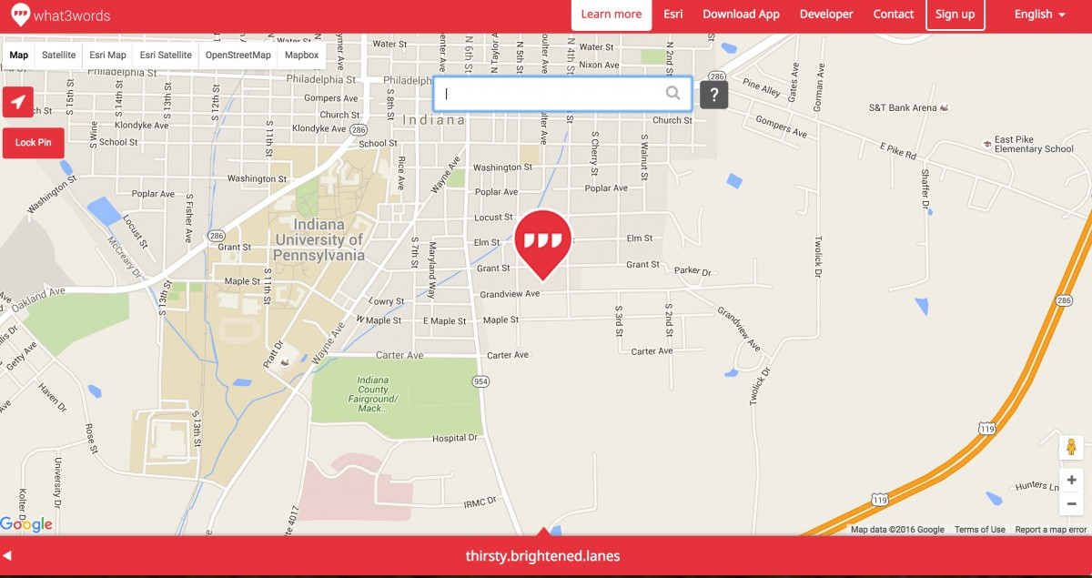 map showing new address system from what3words