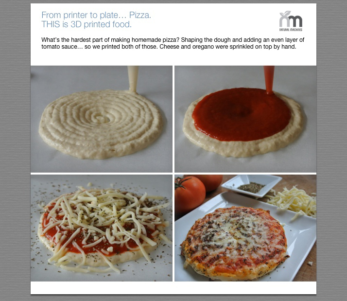 Pizza created with Foodini 3D food printers