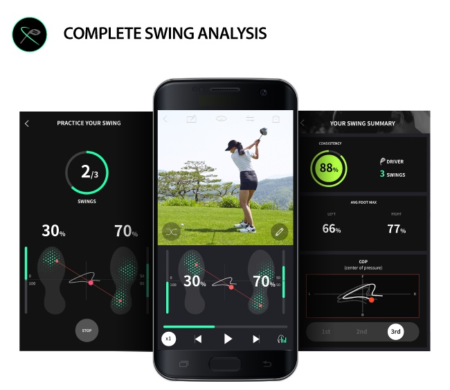 golf swing analysis app with connected smart shoes
