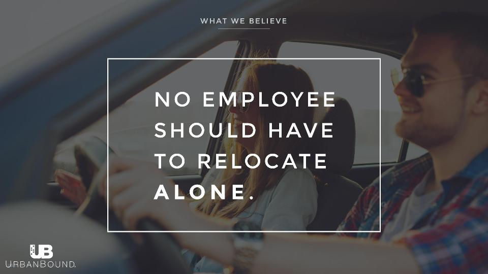 UrbanBound corporate relocation slogan: No employee should have to relocate alone