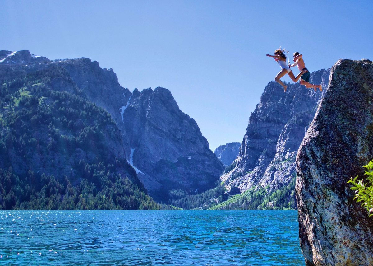 couple cliff jumping via Sean Bingham's Adventure Hunt