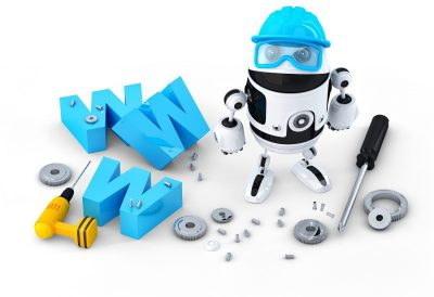 robot representing AI in website builders