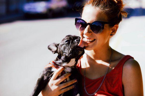 woman who has borrowed a dog