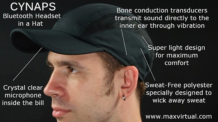 Cynaps jogging hat with bone conduction headphones
