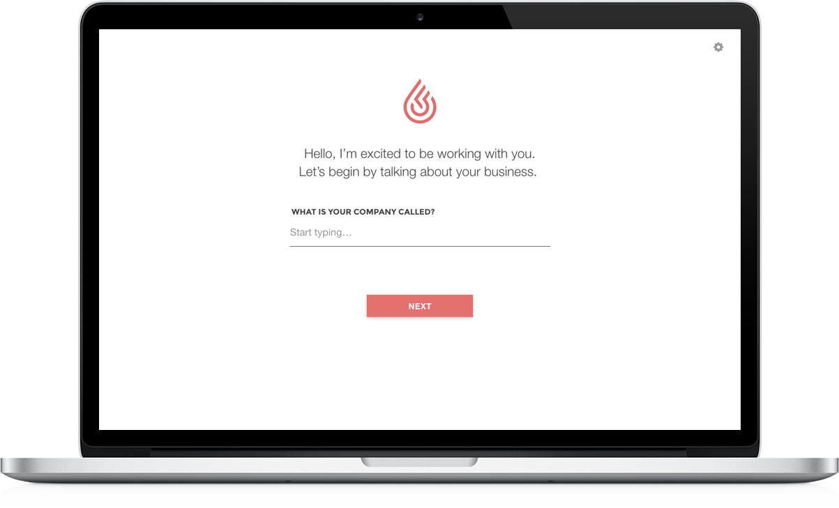 Firedrop website builder setup screen