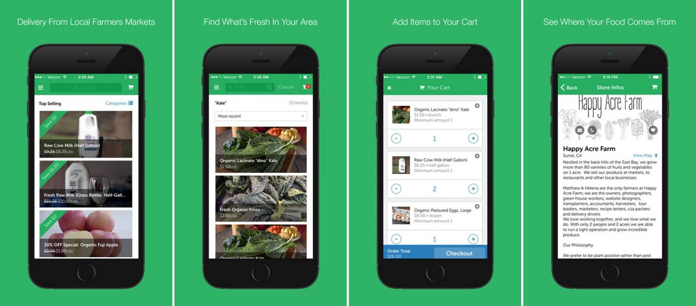 GrubMarket farm-to-table food delivery app screenshots