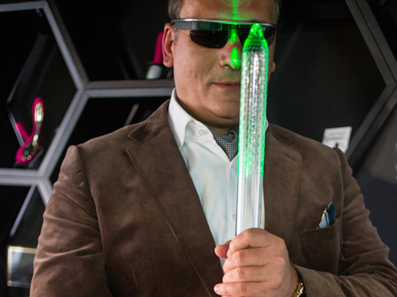 founder Filip Sedic  with Hex Condom on a lightsaber