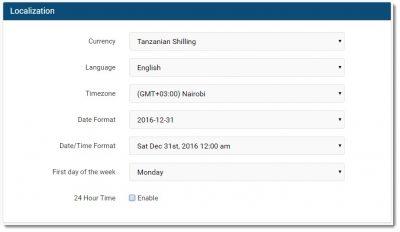 invoice ninja localization options screenshot