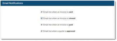 invoice ninja notification preferences screenshot