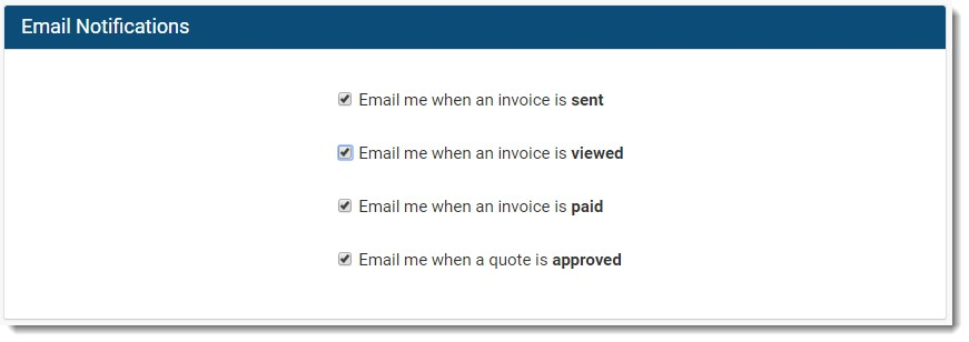 Invoice Ninja email notification preferences