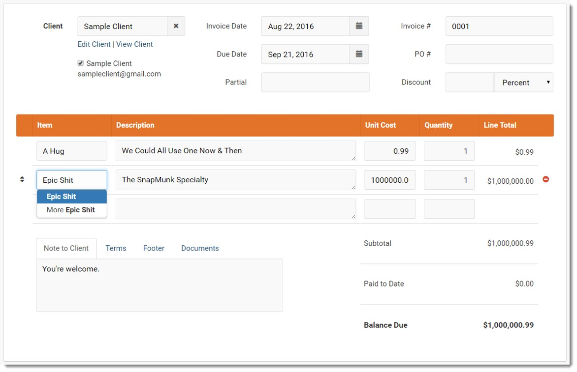 new invoice being created on Invoice Ninja