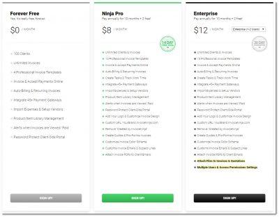 invoice ninja pricing