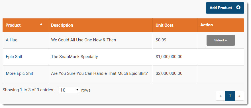 Invoice Ninja product library screenshot