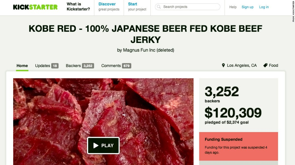 startup scam for kobe beef jerkey on Kickstarter