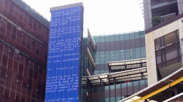 massive Windows blue screen of death on a video wall