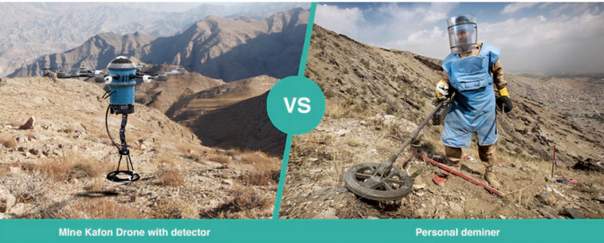 detecting landmines with a drone vs human