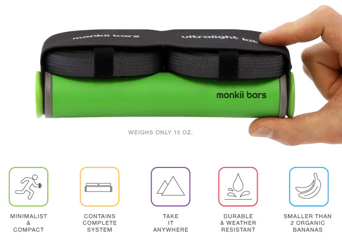 features of Monkii Bars portable workout gear