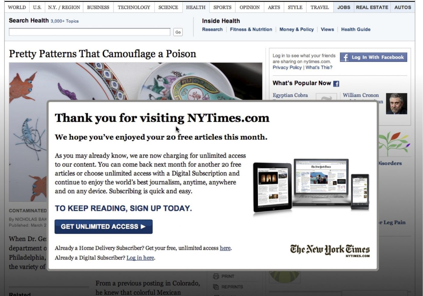 journalism paywall on the New York Times