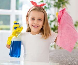 kid inspired to clean by the Ourly.Help parenting app