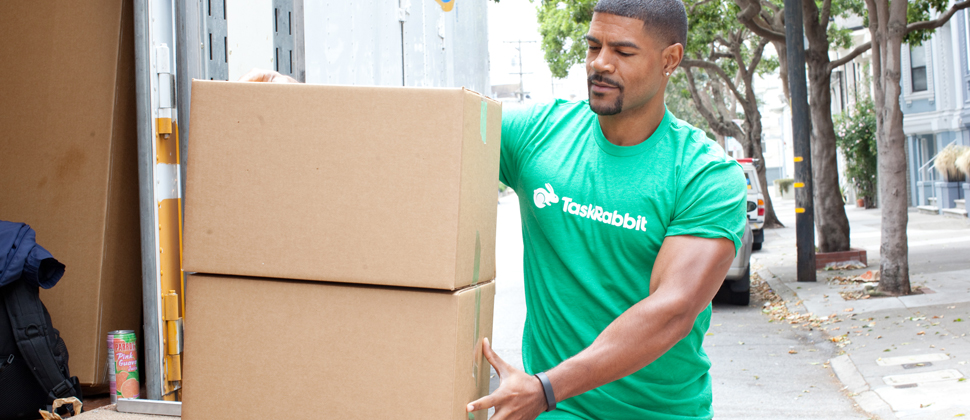 TaskRabbit worker moving boxes