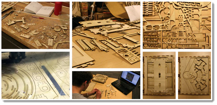 designer building a wooden puzzle book