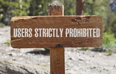 sign saying users strictly prohibited