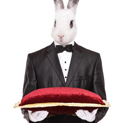 TaskRabbit worker represented as a bunny in a suit holding a velvet pillow