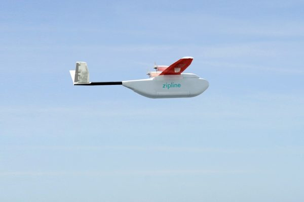 a drone from Zipline flys on its way to drop medical supplies in Rwanda