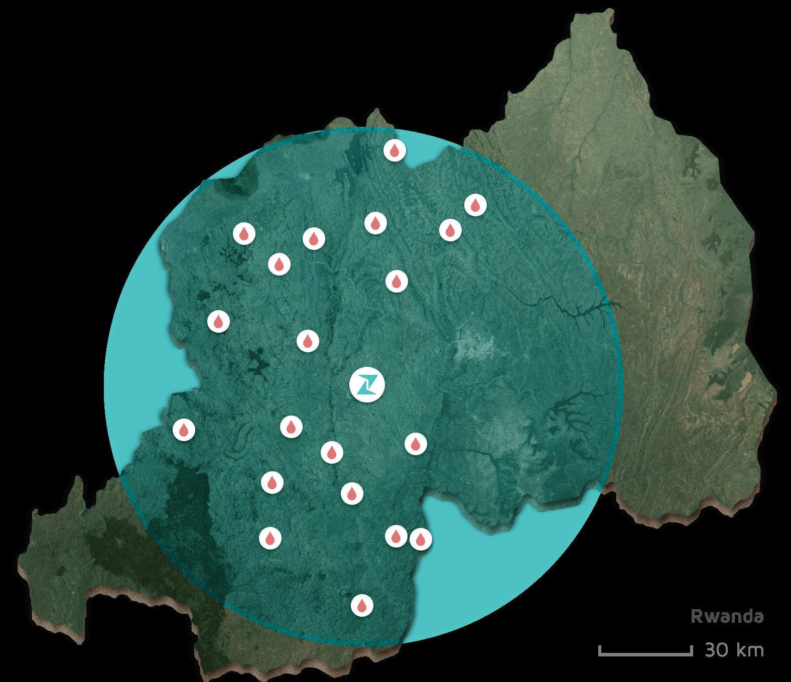 drone drop sites in Rwanda