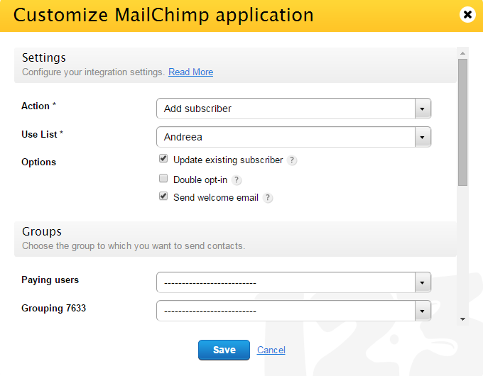 MailChimp integration with 123ContactForm