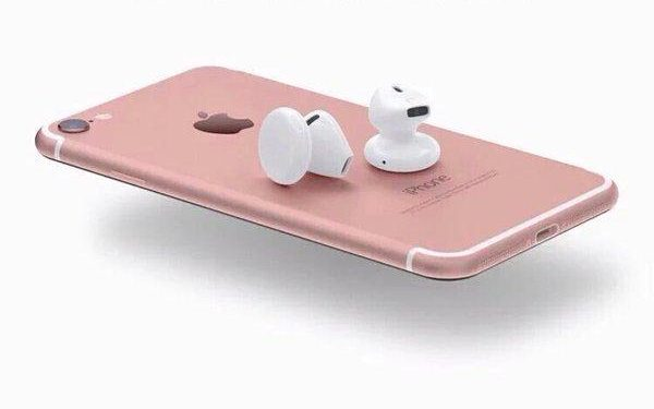 Apple iPhone 7 with wireless ear buds