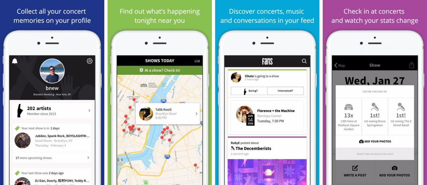 FANS social network built around music and concerts