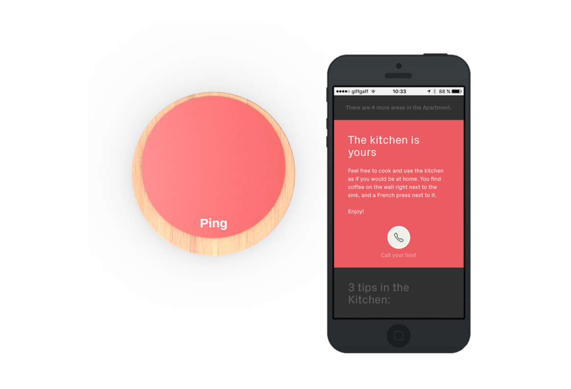 Ping device and app customized by Airbnb hosts