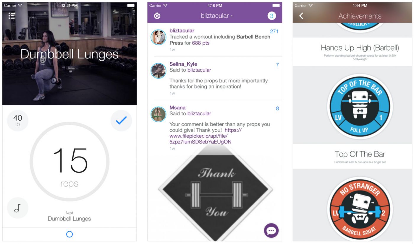Fitocracy mobile app with gamification