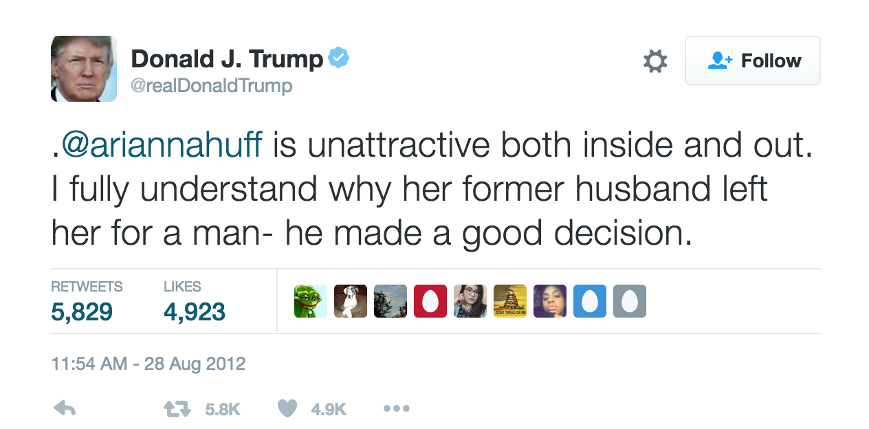 Donald Trump tweet to Arianna Huffington reading Arianna is unattractive both inside and out. I fully understand why her former husband left her for a man- he made a good decision.