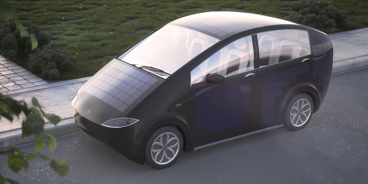 Sion solar-powered car shown with sun power panels visible