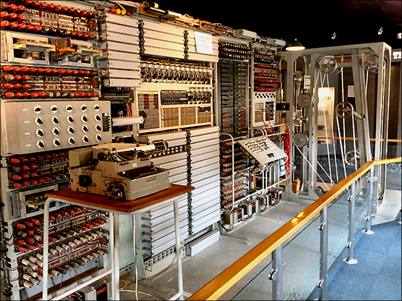 Mark II computer, which produced the first electronic music, in the Bill Tutte Memorial