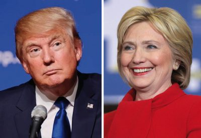Donald Trump and Hillary Clinton in a split screen from first debate