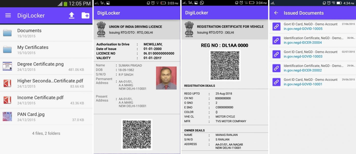 DigiLocker government app with digital driver's license on smartphones