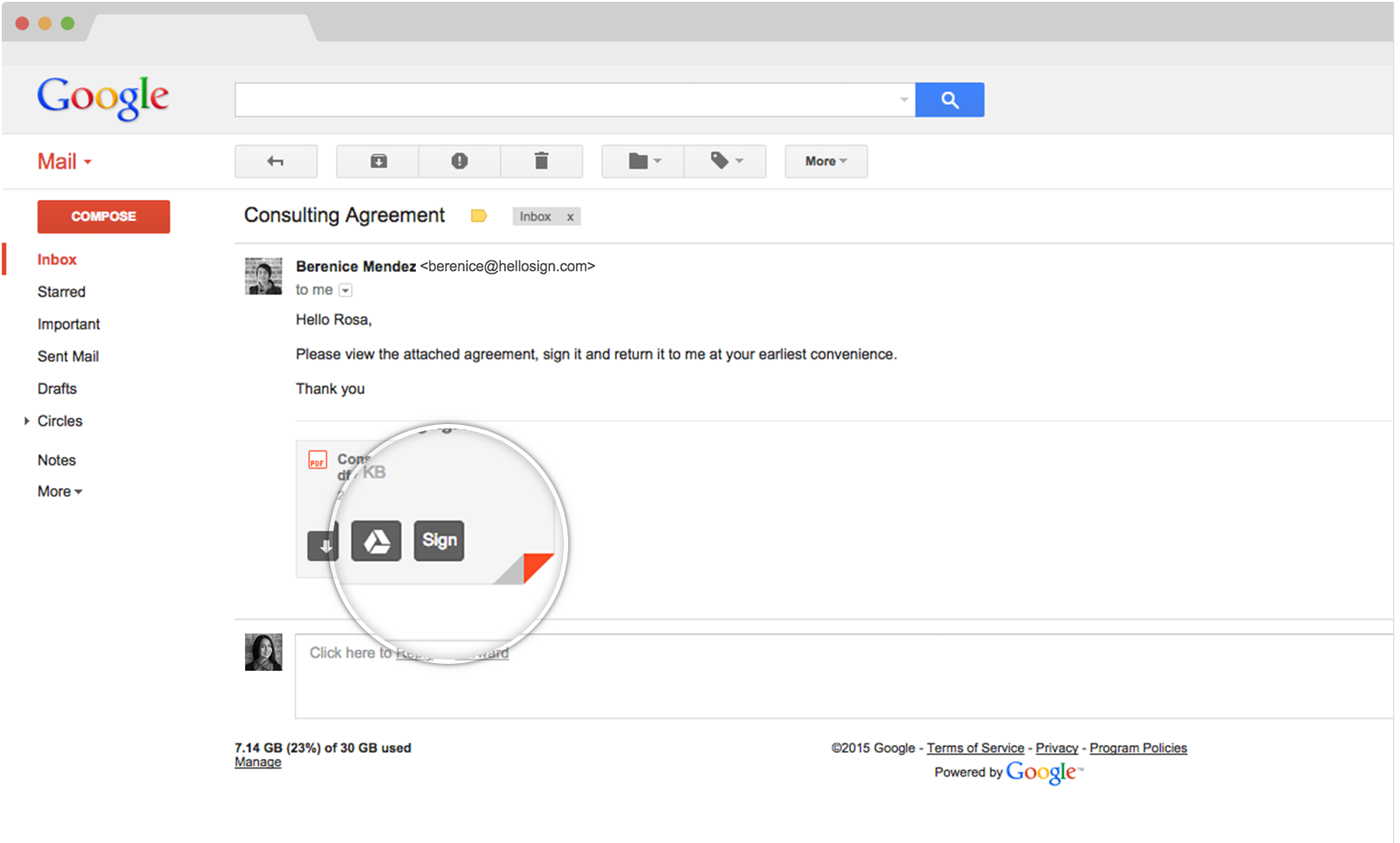 HelloSign eSignature integration with Gmail