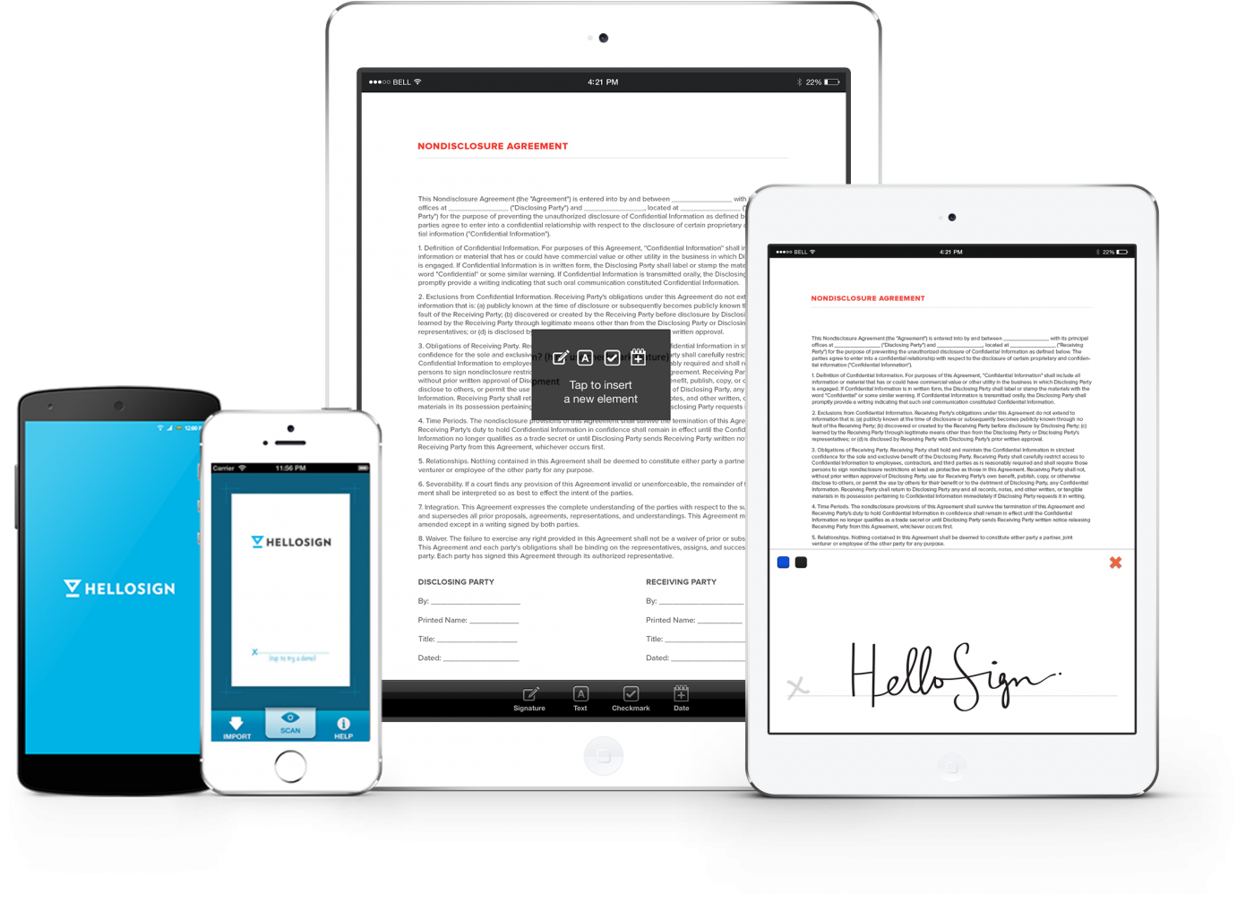 mobile eSignatures signing with HelloSign