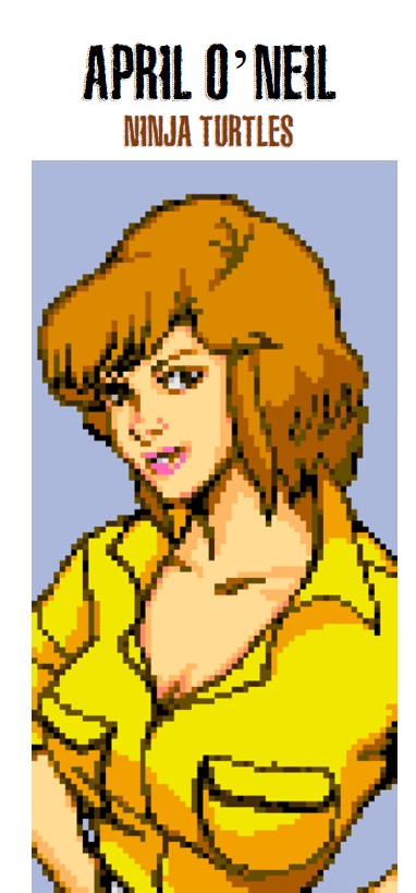 the hot female video game character from Ninja Turtles, April o'Neil
