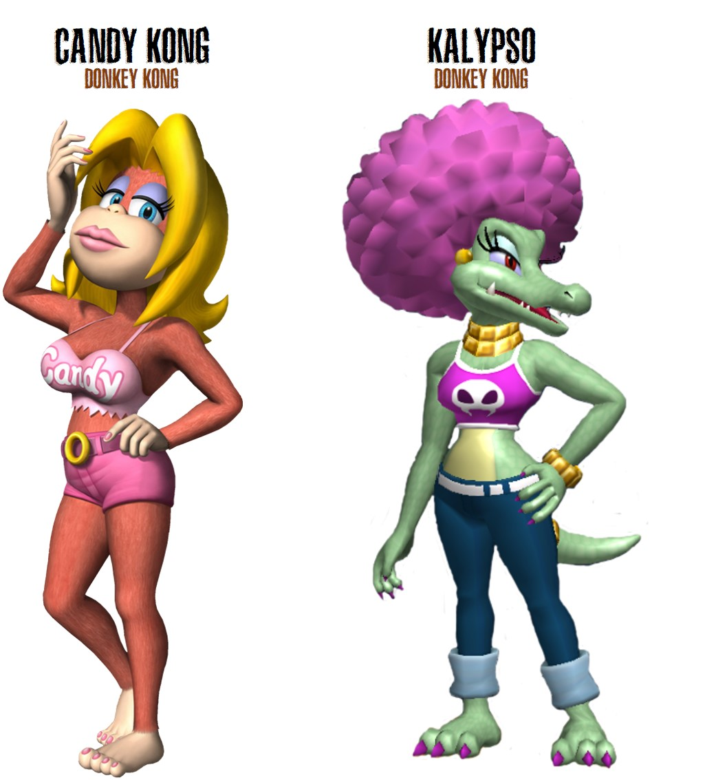 Candy Kong and Kalypso, female video game characters from Donkey Kong